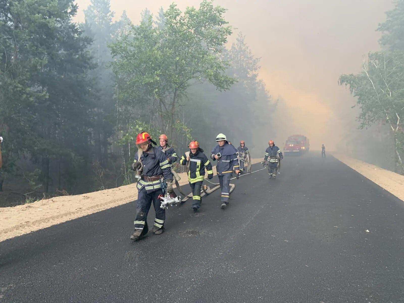 Вогонь палає на десятках гектарів лісів