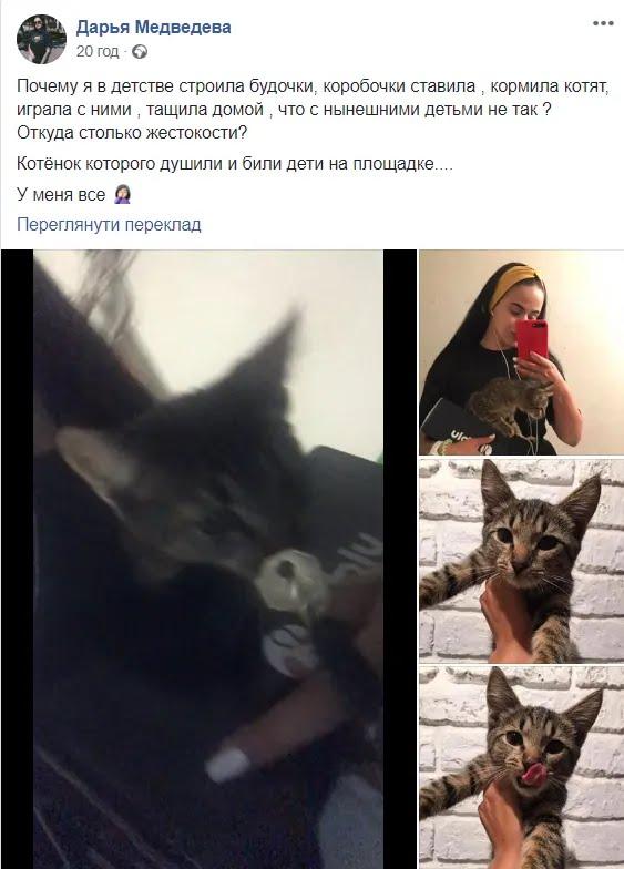 У Дніпрі діти били і душили кошеня