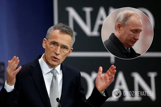 Генсек НАТО Йенс Столтенберг и лидер РФ Владимир Путин