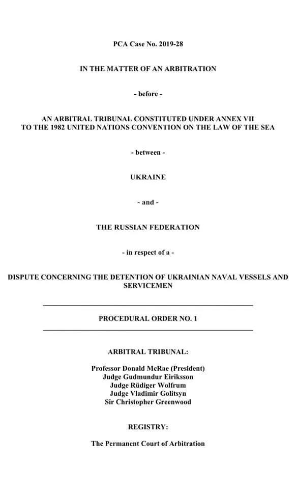 У Гаазі видали наказ Арбітражного трибуналу у справі захоплення кораблів Росією