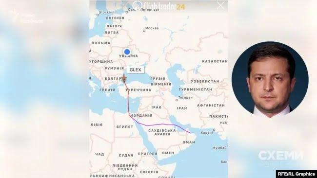 По данным онлайн-сервисов отслеживания воздушных судов, самолет, которым Зеленский вернулся из Маската в Киев, в Оман прилетел якобы из Москвы