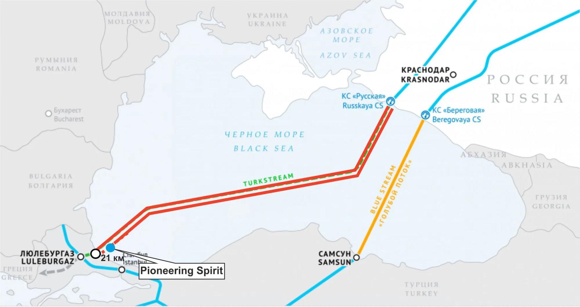 """Схема газопровода """"Турецкий поток"""""""